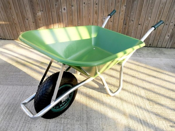 The green 90L wheelbarrow from sheds direct Ireland in Finglas