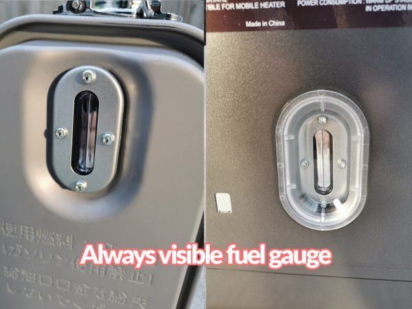 The fuel gauge on the kero 4600 paraffin heater. It is visible on the tank when taken out of the heater, or in the photo to the right - through the clear display on the body of the heater's unit.