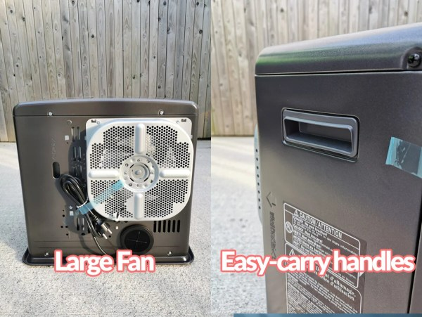 Two images side by side. The left shows the large fan unbit on the back. It's a shiny silver colour with four segments in it. The photo on the right shows the easy carry handles up close. They are curved and charcoal in colour.