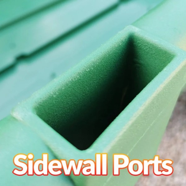 Deep sidewall ports on the 250L Tip Cart. These can support extension walls if needed.