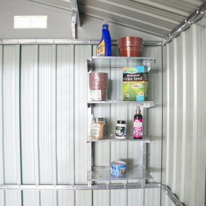 Steel Shelves mounted on the inside of a shed. They're grey and loaded with common garden roducts like bird feed, grass seed, plant pots and weed killer.