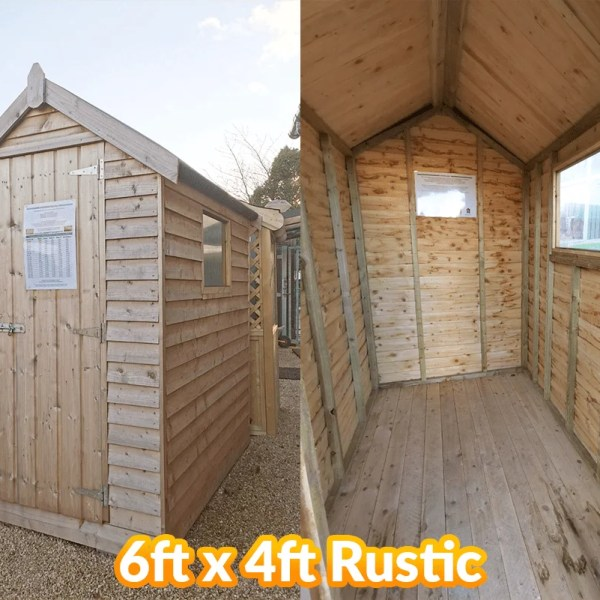 The 6 foot long and 4 foot wide rustic wooden shed