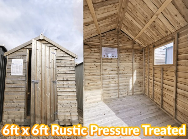The 6 foot wide and 6 foot deep, Deluxe Rustic Pressure Treated Shed from Sheds Direct Ireland