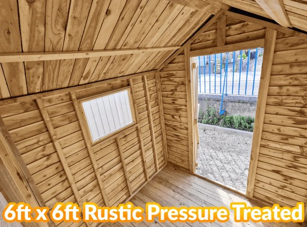 Inside the 6ft x 6ft Rustic Pressure Treated Shed