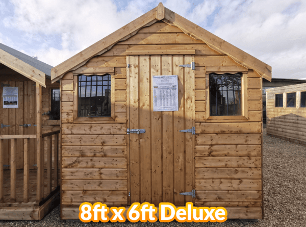 The 8ft long and 6ft wide Deluxe wooden shed from sheds direct ireland