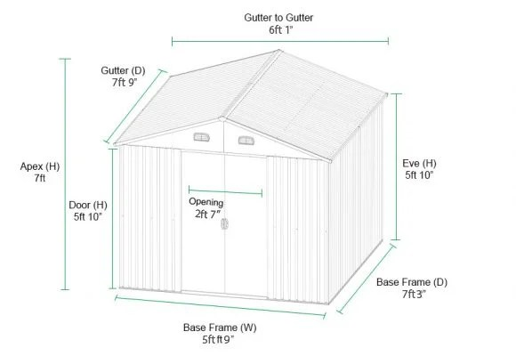The 6x8 Dimensions of the shed in a diagram. It shows all lengths and sizes in cm.