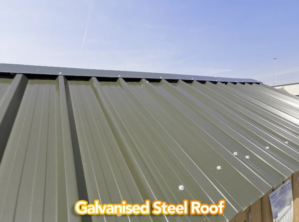A view of the galvanised Steel Roof on the wooden sheds available from Sheds Direct Ireland. It's a deep grey-green, like a tank, and it's rivited to the walls on the outside with silver, circular bolts.