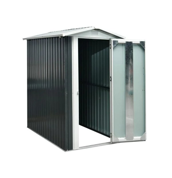 The 4x6 Steel Shed with the door open against an all white backdrop