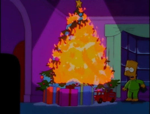 Bart Simpson looking on a Christmas Tree on fire. The walls are pink, bart is in his green pyjamas and a large orange flame is consuming the entire tree, which illuminates the room. The presents are red, pink and blue all wrapped with green bows.