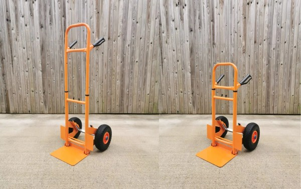 The collapsible hand truck from Sheds Direct Ireland as seen in two photographs side by side. The unit is bright orange, with black wheels and blue wheel caps. There is a shiny, silver spring suspension system visible from the side. The photo on the left shows the product at it's tallest, while the one on the right has been compacted.