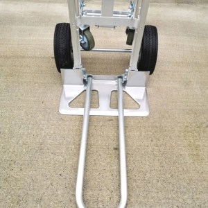 The footplate of the 3 in 1 hand trolley with the extention plate out.