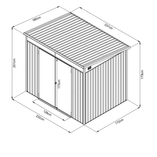 The Dimensions of the Premium Pitched 8ft x 6ft Steel Shed