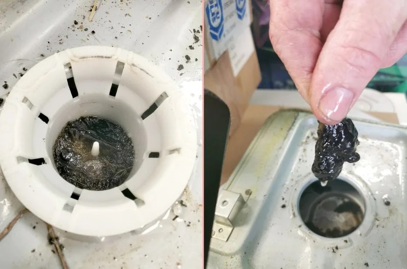Two pictures side by side show the effects of using kerosene in a paraffin heater. The picture on the left is the circular internal filter on the inverter. It's a white filter, but there is a black, swampy looking mess in the middle. On the right a mans hand is visibile and he is holding this black mass up. It's like a dark mucus and it's shimmery looking.
