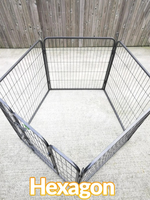 The dog pen adjusted to sit in the Hexagonal formation