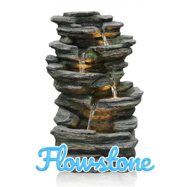 A collection of loosely stacked stones with water tricking down between them. There are LED lights in this Water Feature also.