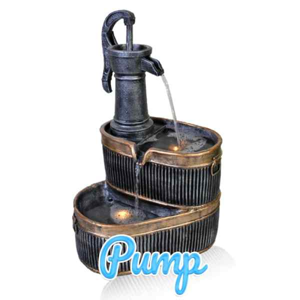 An old-fashioned, 1920's-style cannister with a pump handle attached. This is a water feature.