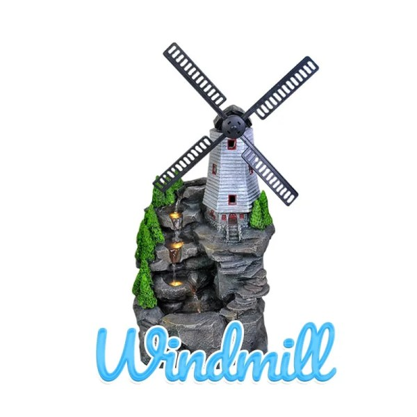 A picturesque windmill sits atop a stoney hill. To the left, water appears from behind the windmill and flows down several steps to a plunge-pool below. The windmill's fans are made of a different material on this water feature.