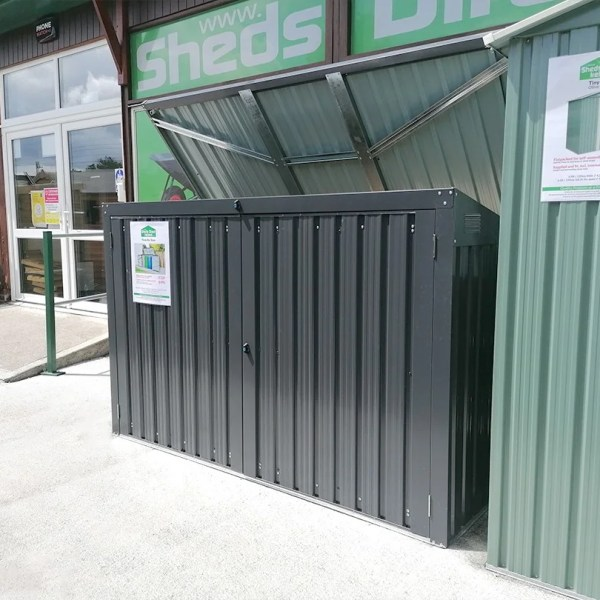 An alternative view of the bin store as seen from the right. The lid is open and the Sheds Direct Ireland showroom is visible behind it.