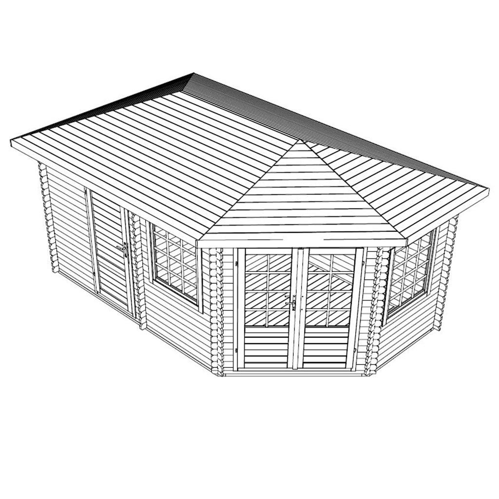 5m X 3m Corner Log Cabin Single Glazing Free Floor