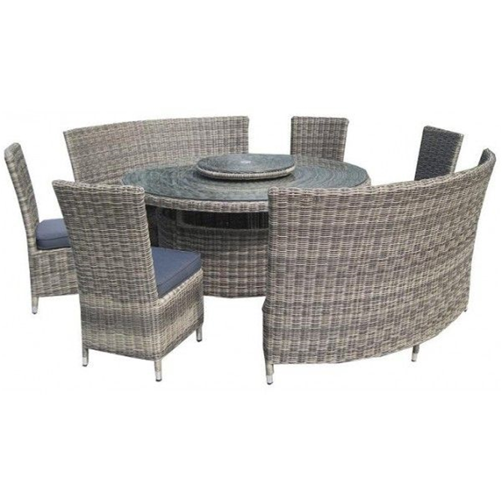 8 seater round dining table and chairs diffrient smart chair piece wentworth fan bench set 140cm