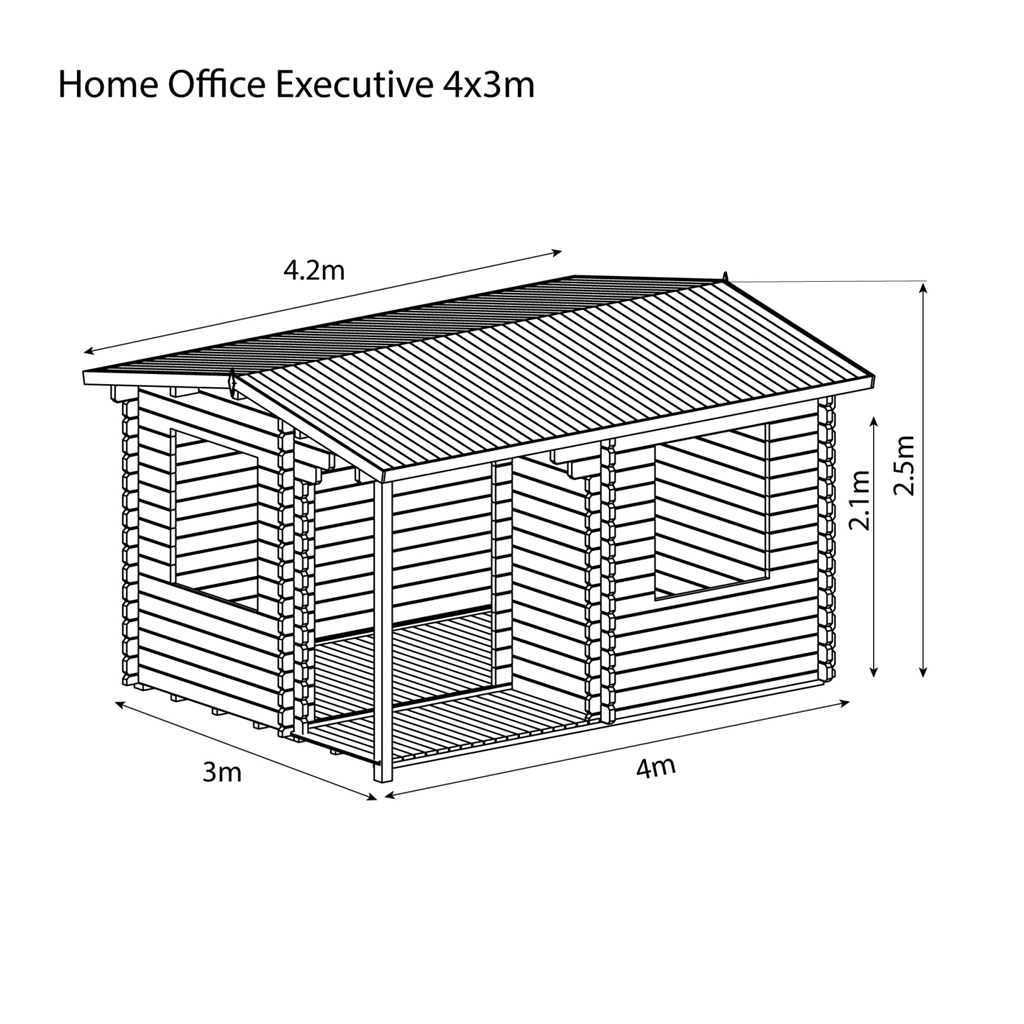 INSTALLED 4m x 3m Reverse Apex Log Cabin (Single Glazing