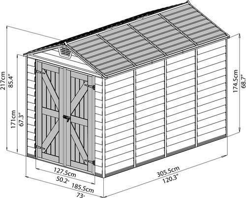 Palram 6x10 Plastic Shed Kit w/ Skylight Roof & Floor