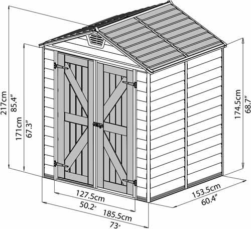Palram 6x5 Plastic Shed Kit w/ Skylight Roof & Floor (HG9605T)