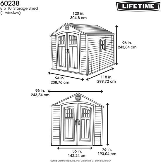 Lifetime 8x10 Storage Shed Kit w/ Horizontal Siding (60238)