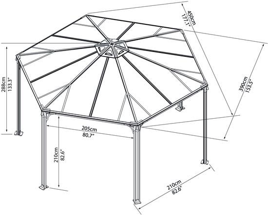 Palram 15x13x11 Monaco Hexagon Garden Gazebo Kit (HG9160)