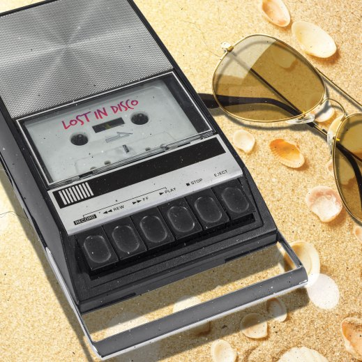 Vintage cassette palyer Lost In Disco beach