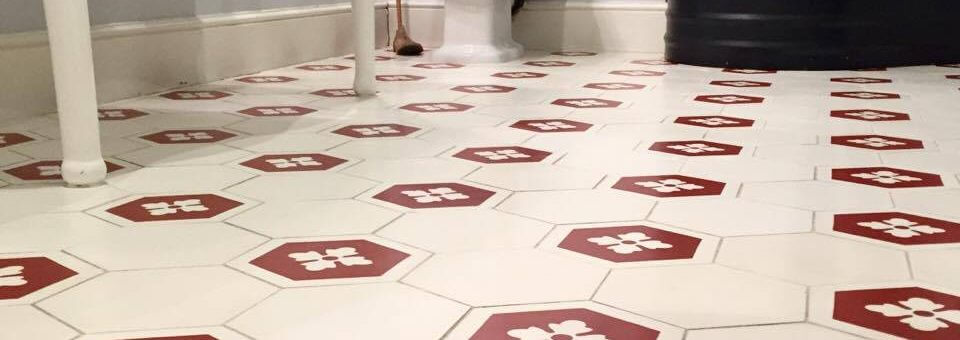 Here we have a after picture of a fully restored quarry tile floor in a bathroom of a high end hotel in the city center of Cheltenham