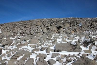 Lange Zeit einfach nichts, nur Schnee und Felsen