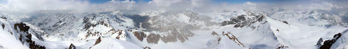 Aussicht von der Weißkugel über die Ötztaler Alpen