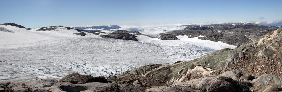 Blick vom Pausenplatz über den Gletscher