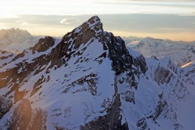 Blick auf den Hochiss, eine sehr schwere Skitour, aber sicher auch im Sommer ein lohnendes Ziel