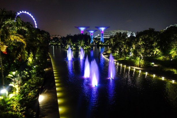 Gardens by the bay mit Singapore Flyer