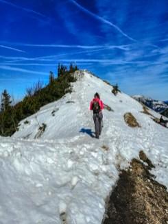 Aufstieg zum Gipfelkreuz des Jochbergs