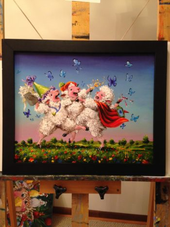 Party Animals Sheep Incognito Original Oil Painting by Conni Tögel
