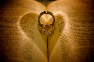 Rings on a Bible.