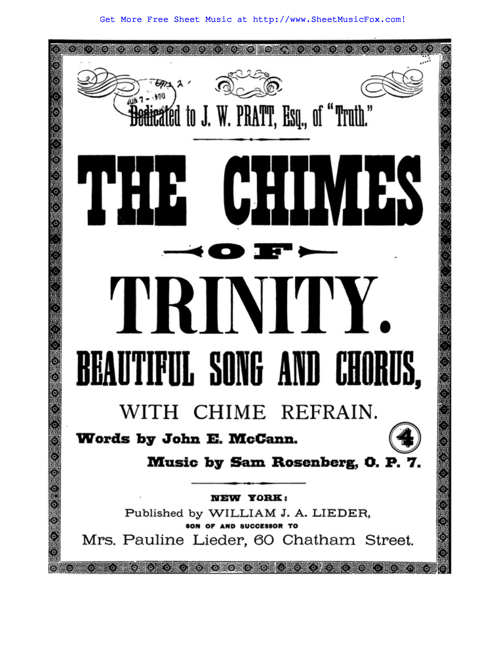 Free sheet music for The Chimes of Trinity, Op.7