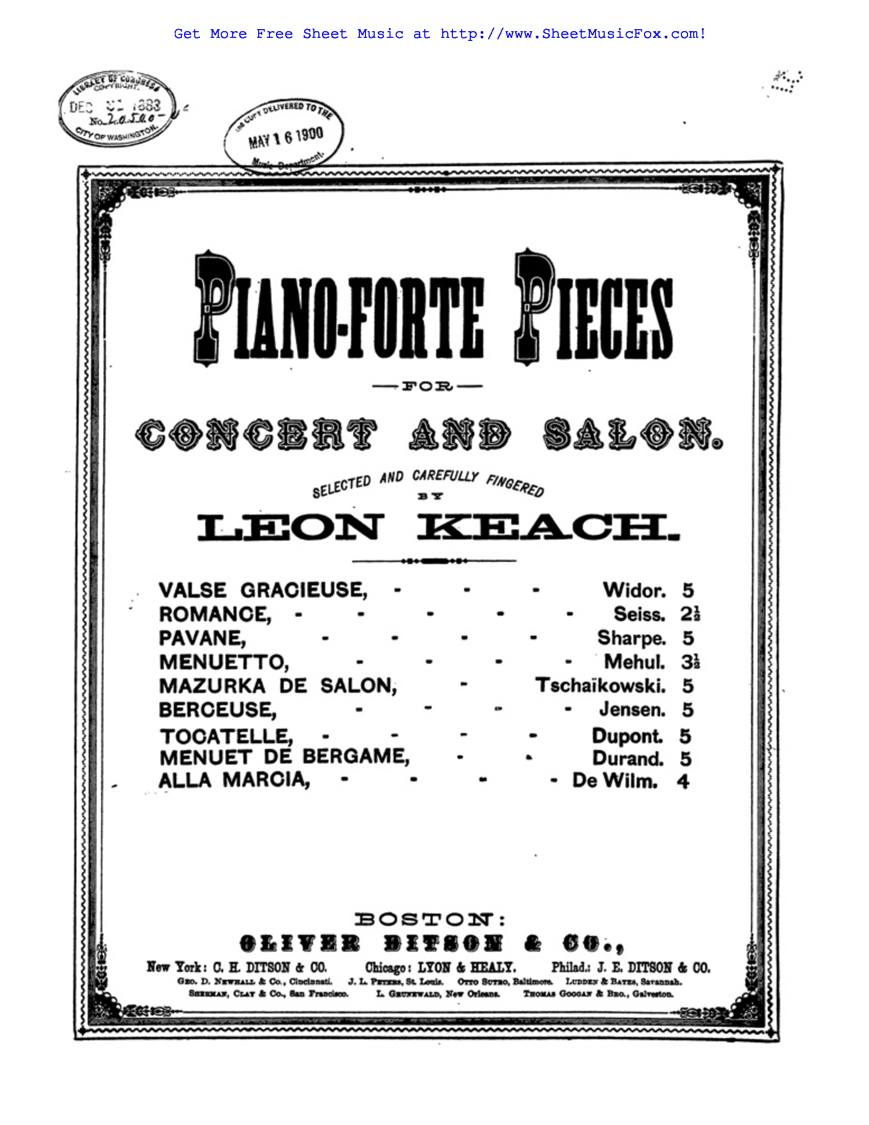 Free sheet music for 6 Morceaux, Op.14 (Wilm, Nicolai von