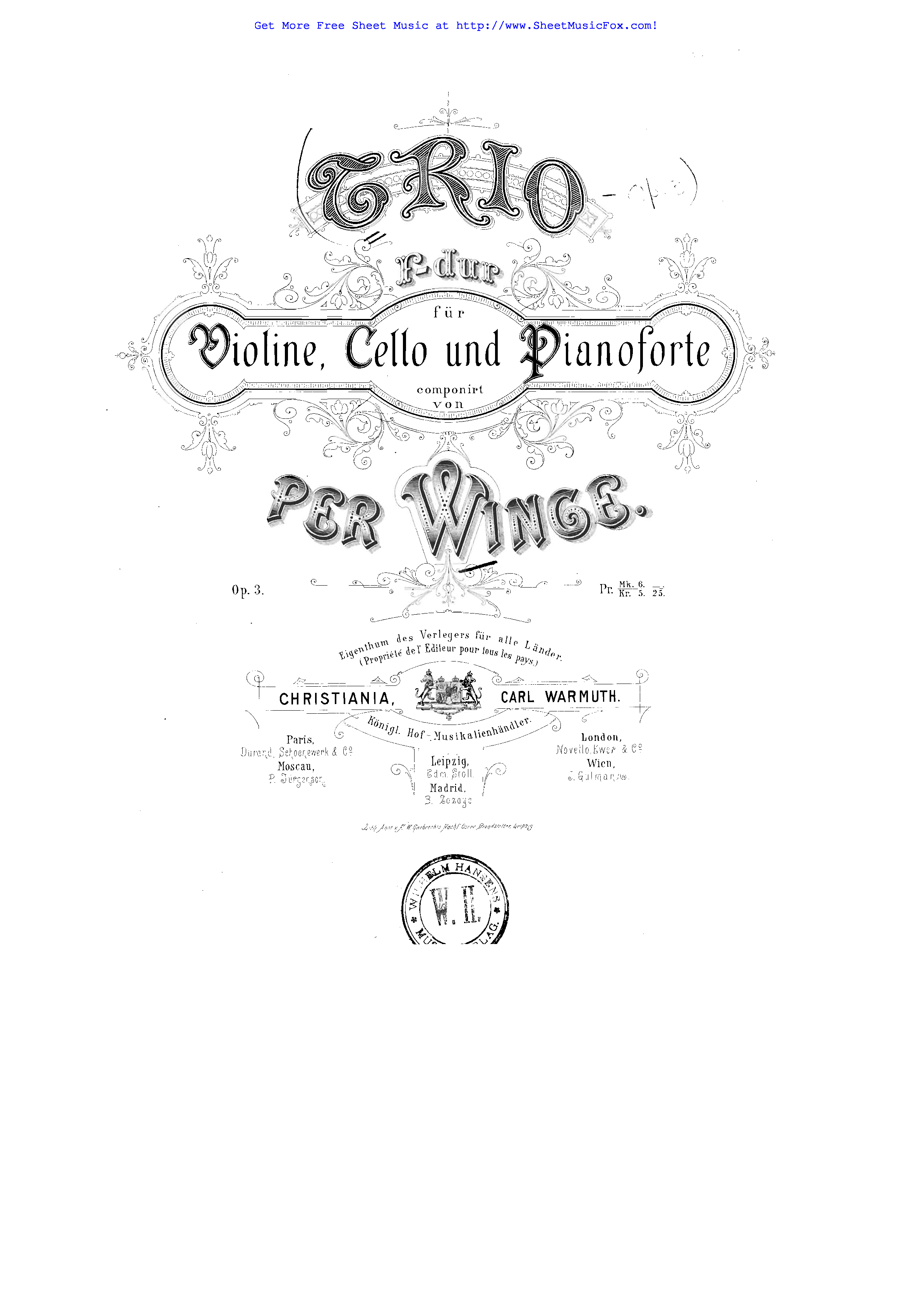Free sheet music for Piano Trio, Op.3 (Winge, Per) by Per