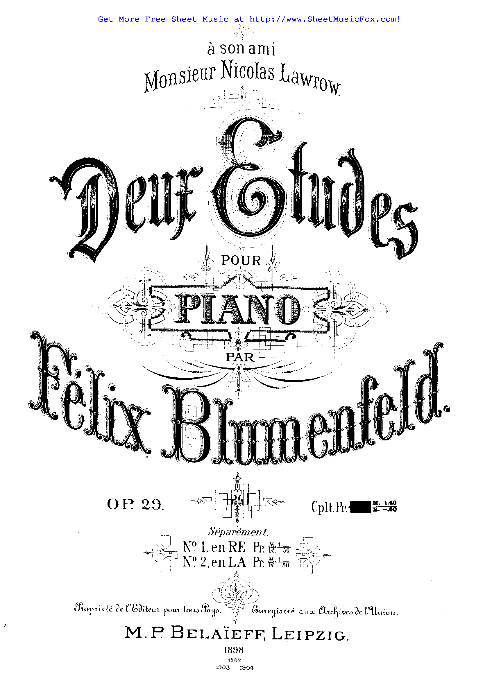 Free sheet music for 2 Etudes for Piano, Op.29 (Blumenfeld