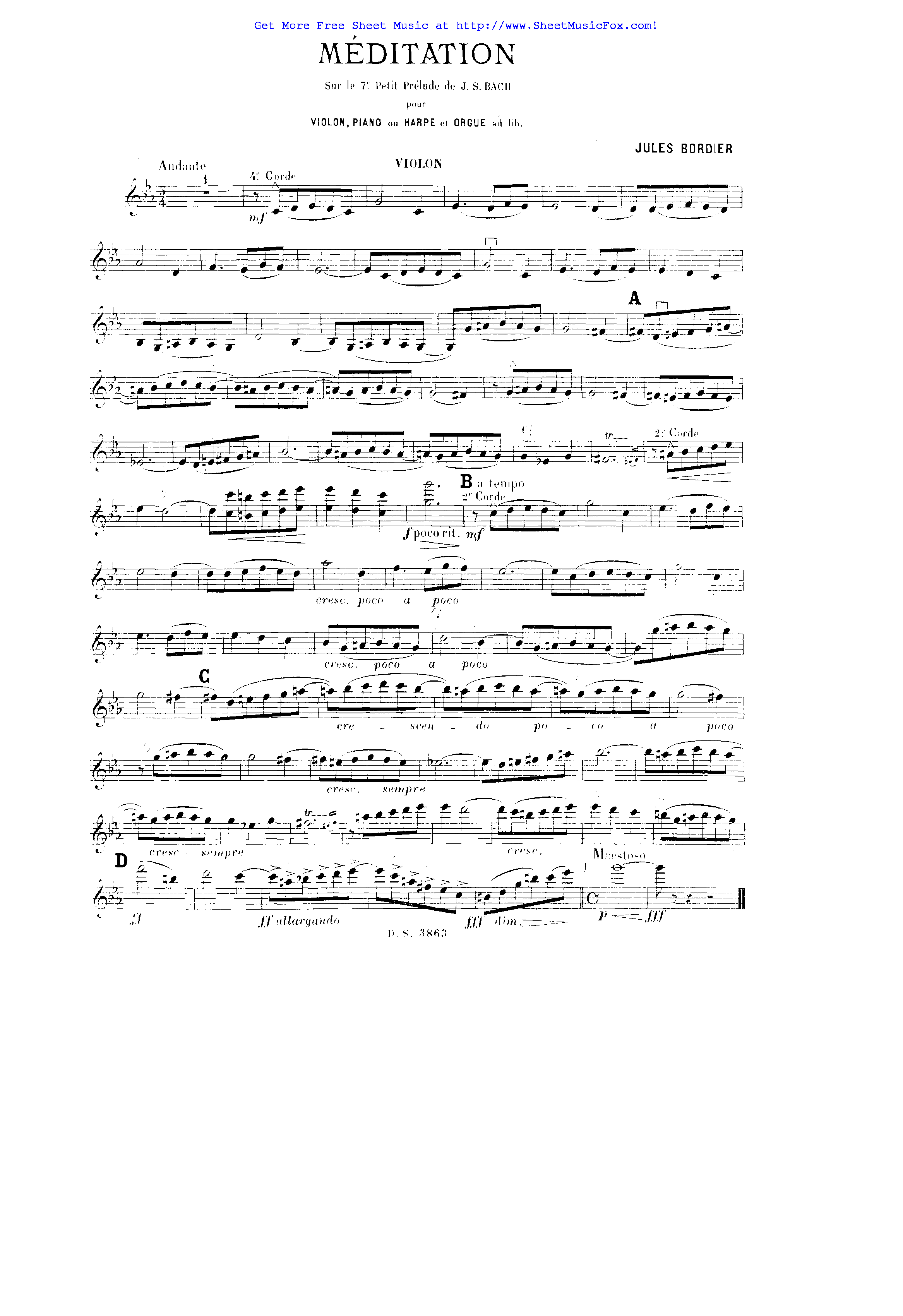 Free sheet music for Méditation (Bordier, Jules) by Jules