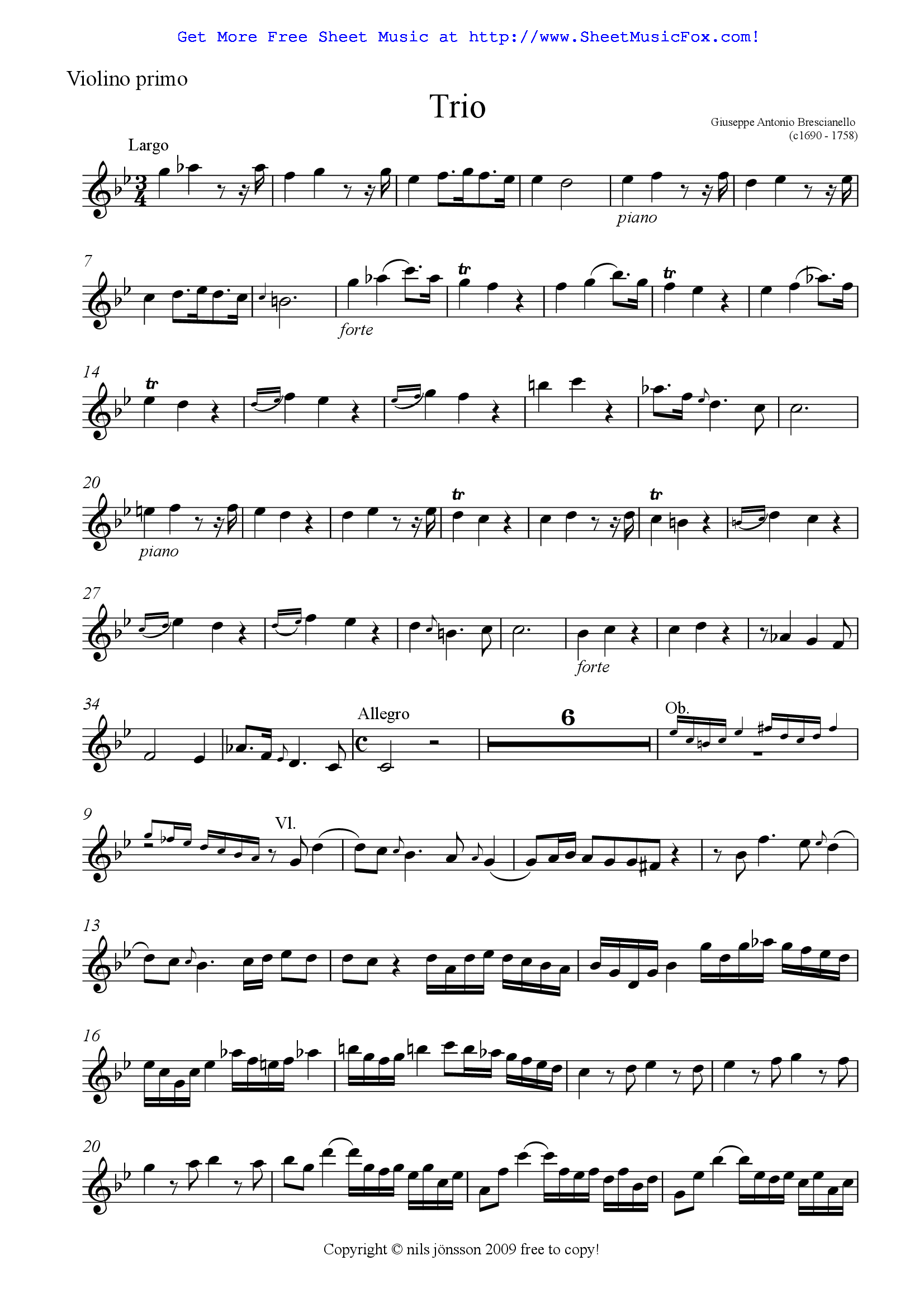 Flute Oboe Clarinet Trio Free Sheet Music