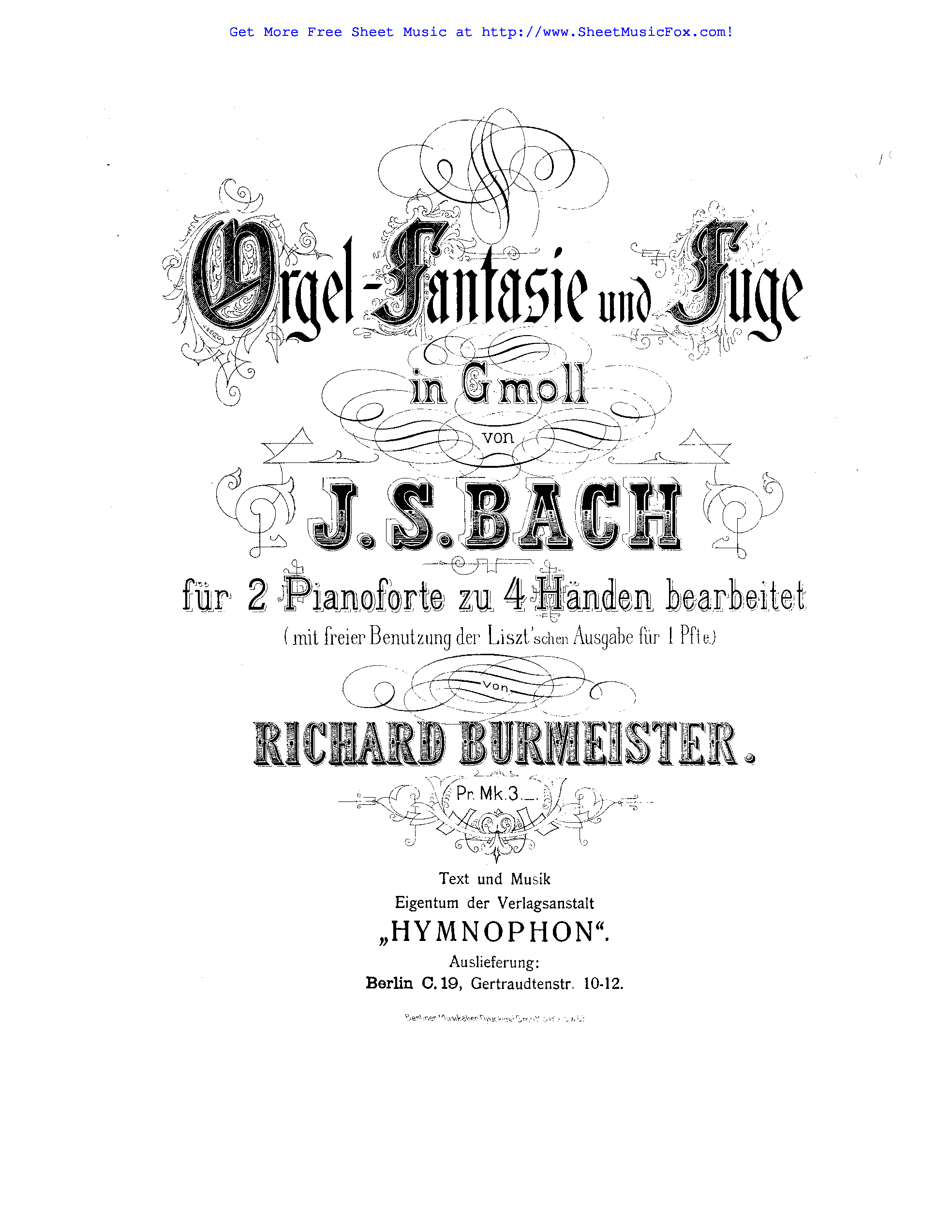 Free sheet music for Fantasia and Fugue in G minor, BWV