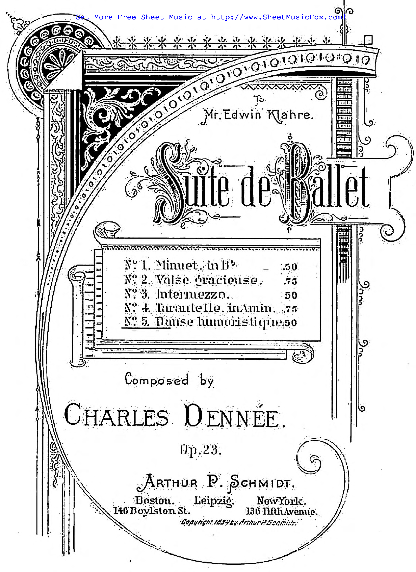 Free sheet music for Suite de Ballet, Op.23 (Dennée