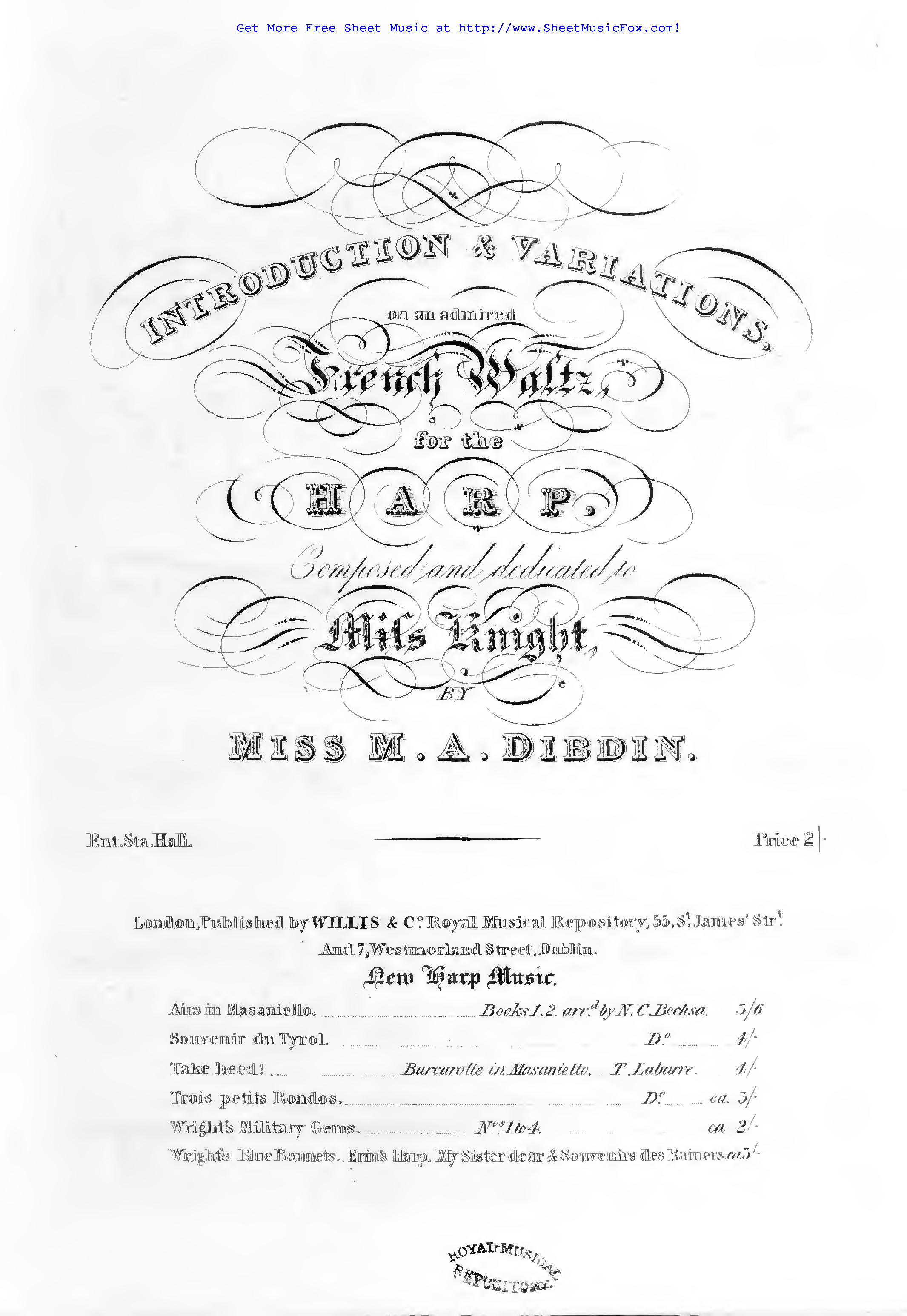 Free sheet music for Introduction and Variations on a