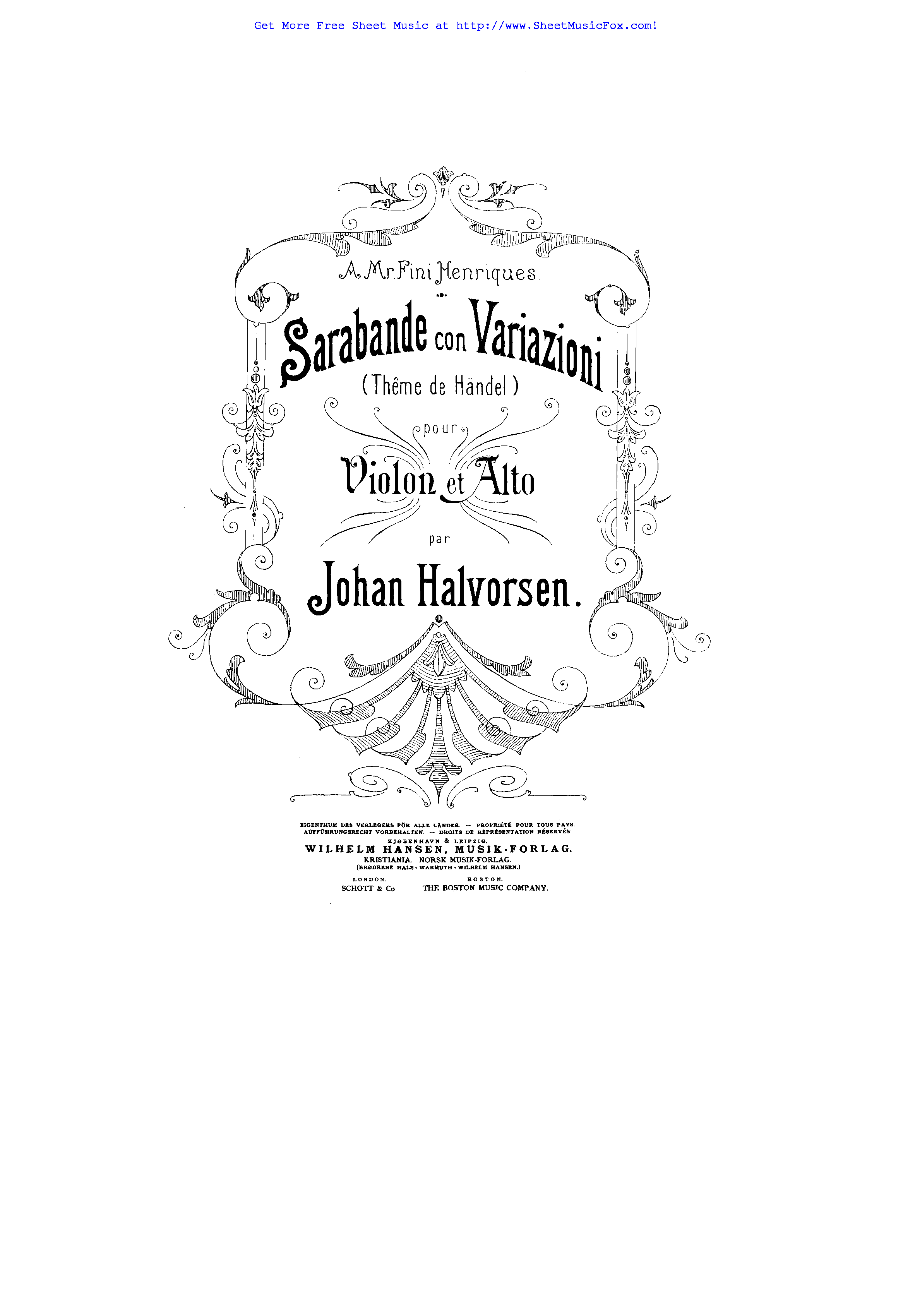 Free sheet music for Sarabande con variazioni, Thême de