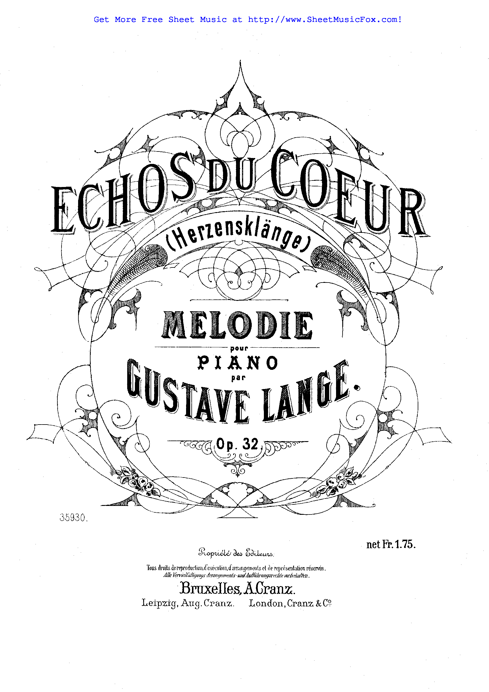 Free sheet music for Echos du coeur, Op.32 (Lange, Gustav